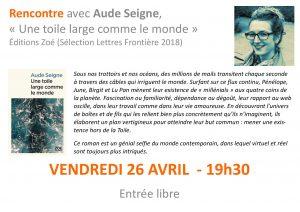 affiche Aude Seigne librairie Douvaine 26 04 19 page 001 300x212 - Retour sur le 26 avril 2019 : rencontre avec Aude Seigne à la librairie de Douvaine