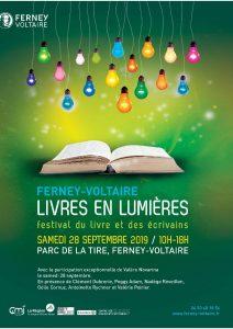 Livres en lumiere Ferney p1 212x300 - Retour sur le 27 septembre 2019 : Carine Fernandez à Ferney-Voltaire