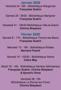 rencontres janv fév au 20 01 20 204x300 - Janvier/Février 2020 : les rencontres d'auteurs de la 26e Sélection 2019