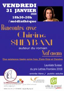 C. Sheybani VLG janv20 212x300 - Retour sur le 31 janvier 2020 : rencontre avec Chirine Sheybani à la médiathèque de Ville-la-Grand