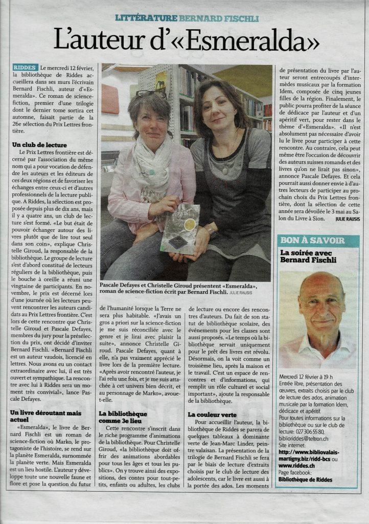 articleFischliRiddes 722x1024 - Retour sur le 12 février 2020 : rencontre avec Bernard Fischli à la médiathèque de Riddes