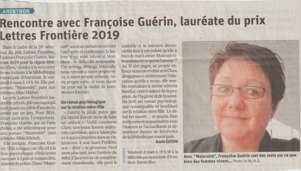 Guerin Dauphine 6 mars 1024x581 - Retour sur le 6 mars 2020 : rencontre avec Françoise Guérin à la bibliothèque d'Arenthon