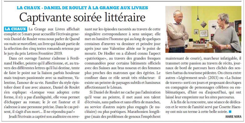 Journal Cossonay decoupe 07 07 20 1024x513 - Retour sur le 5 mars 2020 : rencontre avec Daniel de Roulet à la librairie de La Chaux