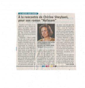 SheybaniRoche 289x300 - Retour sur le 28 février 2020 : rencontre avec Chirine Sheybani à la médiathèque de La Roche-sur-Foron