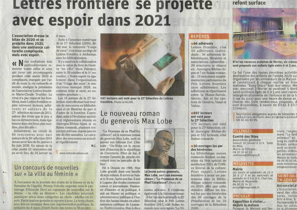 """Article LF Dauphine Libere 26.01.2021 1024x724 - Le """"Dauphiné libéré"""" parle de Lettres frontière"""