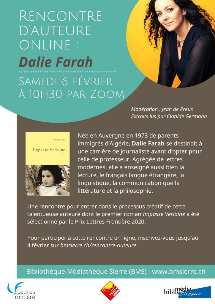 D. Farah Zoom Sierre 21 01 21 724x1024 - Rencontre numérique avec Dalie Farah samedi 6 février 2021 à 10h30