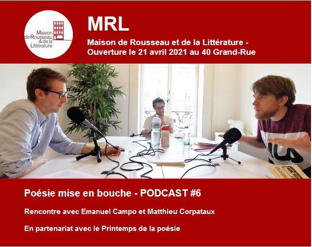 PrintempsPoesieMRL2021 1 - Rencontre en podcast avec Emanuel Campo et Matthieu Corpataux - Printemps de la poésie 2021 de la MRL