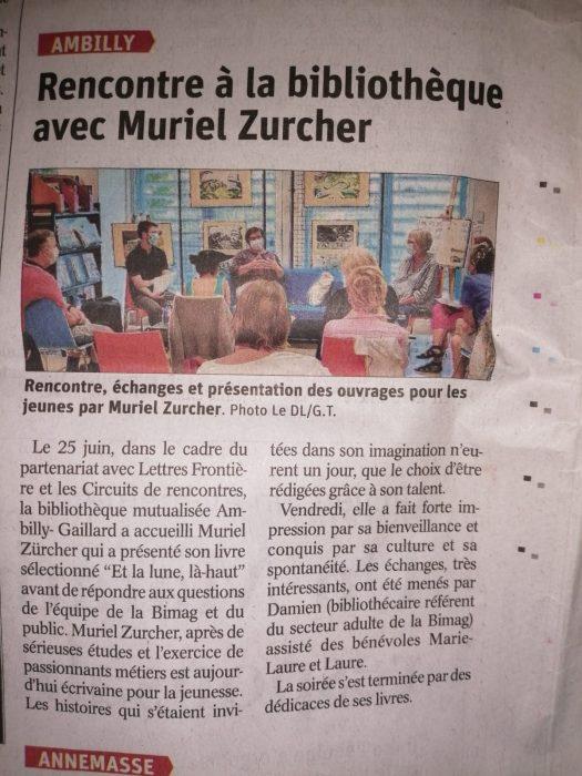 Article DL M. Zurcher 22 06 21 B e1625140815818 - Retour sur la rencontre avec Muriel Zürcher à la Bibliothèque d'Ambilly